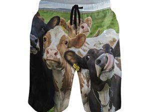 Animal Cow Lustige Badehose fuer Maenner Jungen Schnell Trocknende Strandshorts mit Taschen 0