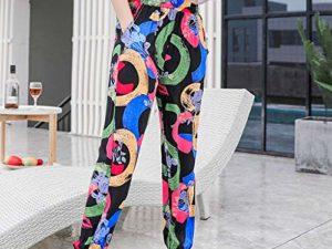 Auiyut Damen Hippie Hose Boehme Drucken Haremshose Pumphose Floral Muster Hosen Beilaeufige Stoffhose Weicher Qualitaet Elastische Taille S 3XL 0 1