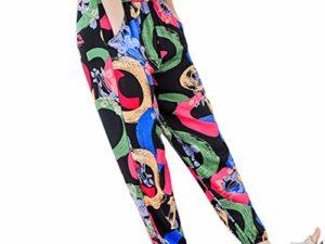 Auiyut Damen Hippie Hose Boehme Drucken Haremshose Pumphose Floral Muster Hosen Beilaeufige Stoffhose Weicher Qualitaet Elastische Taille S 3XL 0