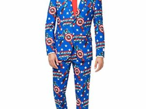 Captain America Anzug fuer Herren besteht aus Sakko Hose und Krawatte 46 0