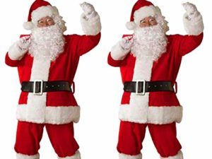 FIRMON Herren Weihnachtssamt Cosplay Party Anzug Guertel Hut Tops Hosen Schnurrbart Set 0