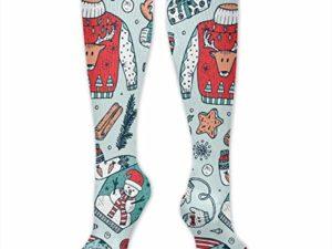 Haessliche Weihnachtsstrickjacke Partei Druckte Kniehohe Kompressions Socken Beilaeufige Hosen Socken 0