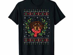 Haesslicher Weihnachtspullover Dackel Geschenk T Shirt 0