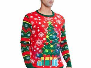 Idgreatim Unisex Weihnachtspullover Led Licht Strickpullover 3D Gedruckt Weihnachten Pullover Ugly Christmas Sweater Jumper 0 0