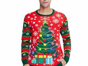 Idgreatim Unisex Weihnachtspullover Led Licht Strickpullover 3D Gedruckt Weihnachten Pullover Ugly Christmas Sweater Jumper 0 1
