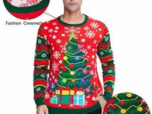 Idgreatim Unisex Weihnachtspullover Led Licht Strickpullover 3D Gedruckt Weihnachten Pullover Ugly Christmas Sweater Jumper 0 3