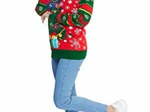 Idgreatim Unisex Weihnachtspullover Led Licht Strickpullover 3D Gedruckt Weihnachten Pullover Ugly Christmas Sweater Jumper 0 4