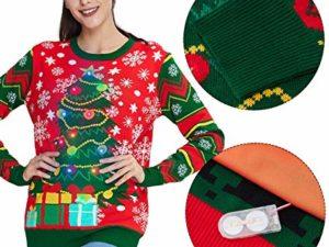 Idgreatim Unisex Weihnachtspullover Led Licht Strickpullover 3D Gedruckt Weihnachten Pullover Ugly Christmas Sweater Jumper 0 5