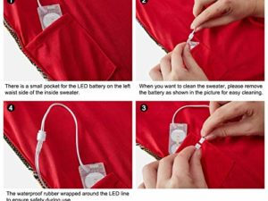 Idgreatim Unisex Weihnachtspullover Led Licht Strickpullover 3D Gedruckt Weihnachten Pullover Ugly Christmas Sweater Jumper 0 7