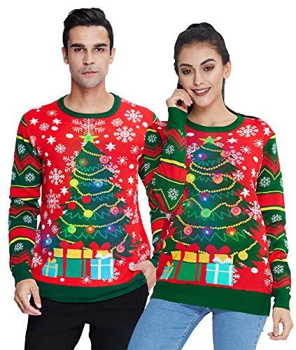 Idgreatim Unisex Weihnachtspullover Led Licht Strickpullover 3D Gedruckt Weihnachten Pullover Ugly Christmas Sweater Jumper 0