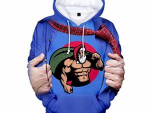 Kolila Weihnachten Lustige T Shirts Herren Santa Claus Haesslich gedruckt Hoodie laessige Pullover mit Kapuze Sweashirt Jacke mit Taschen 0