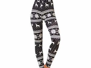 LOPILY Hose Damen mit Norwegermuster Leggings Hirschmuster Strumpfhosen Elastisch Stretchhose High Waist Weihnachtshosen Schlafhosen mit Weihnachtsmotiven Schneeflocken Reindeer Druck 0