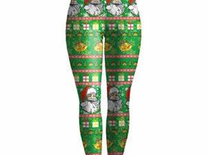 LOPILY Leggings Damen Weihnachtshosen mit Santa Druck Norwegermuster Leggins High Waist Yogahosen Elastisch Strumpfhosen mit Weihnachtsmotiven Haesslicher Weihnachtshose Damen 0