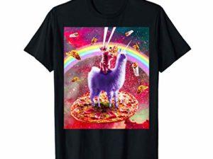 Laser Eyes Space Cat Fahrt auf Lama Einhorn T Shirt 0
