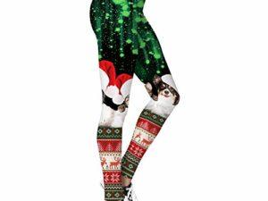 Leggings Damen Lang Sporthose Yogahose Fitnesshose Fashion Weihnachten duenne Gamaschen Weihnachten Lustige Kostuem Strumpfhosen Trendy Yoga Pants Power Flex Frauen beilaeufige Sport Fitness Hose Spor 0 0