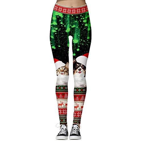Leggings Damen Lang Sporthose Yogahose Fitnesshose Fashion Weihnachten duenne Gamaschen Weihnachten Lustige Kostuem Strumpfhosen Trendy Yoga Pants Power Flex Frauen beilaeufige Sport Fitness Hose Spor 0