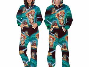 MINIKIMI Herren Jumpsuit Weihnachten Unisex Onesie Ugly 3D Druck Jogging Sportanzug Trainingsanzug Jogginganzug Sweatsuit Mit Kapuze Christmas Zip GanzkoeRperanzug 0