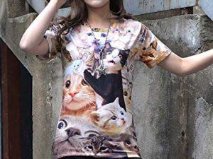 PIZOFF Unisex 3D Print Katze T Shirt 0 0