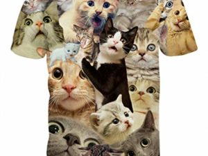 PIZOFF Unisex 3D Print Katze T Shirt 0 1