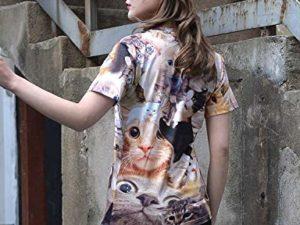 PIZOFF Unisex 3D Print Katze T Shirt 0 3