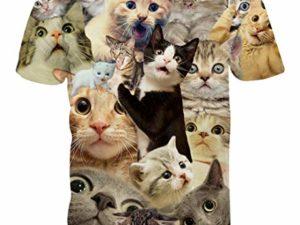 PIZOFF Unisex 3D Print Katze T Shirt 0