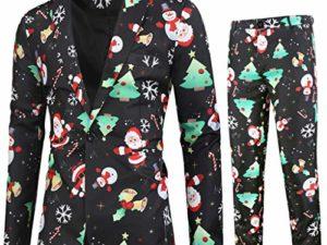 Riou Herren Weihnachtsanzug 2 Teilig Slim Fit Button Verschiedene Drucke Formal Weihnachten Sakko Blazer Partyanzug fuer Festlich Party Abend Hochzeit 0