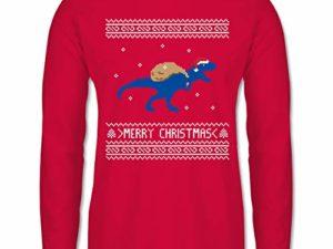 Shirtracer Weihnachten Silvester Ugly Christmas I T Rex Merry Christmas Herren Langarmshirt 0