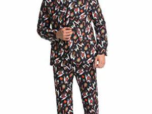 U LOOK UGLY TODAY Herren Lustige Weihnachtsanzuege fuer Weihnachten Party Kostuem Festliche Anzug aus Sakko Hose und Krawatte 0