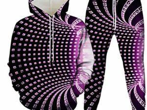 Unisex 3D Druck HoodieJogginghosenKreative Drawstring Pocket Hooded Sweatshirt Set Neuheit Optische Taeuschung Quadratischer Gittertunnel Druck Fuchsia Laessig Atmungsaktive Pullover Jogger Hosen 0