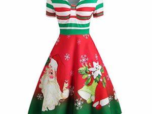 Weihnachten Kostuem Damen Haesslich Santa V Ausschnitt Skaterkleid Kurzarm A Linie Kleid Abendkleid Swing Kleid Partykleid Weihnachtskleider Lustige Weihnachtsmann Ballkleid Rockabilly Cocktailkleid 0