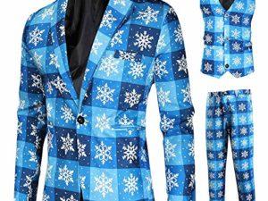 XXYsm 3 Teilig Anzug Weihnachtsanzuege fuer Herren Besteht aus Sakko Mantel Hose Weste Erwachsene Weihnachtskostuem Party Formelle Kleidung 0