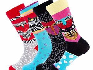 YANGTE Herren Socken Bunt GemusterteNeuheit Art Argyle mit Lustige Wadensocken Unisex Baumwolle Bedruckte Crew Socken Fun Socks fuer Herren und Damen 0