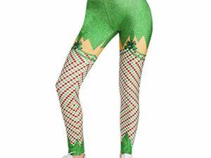 cinnamou Weihnachts Jogginghose Damen Frauen Weihnachts hohe Taillen Gamaschen Eignungs Sport athletische Hosen Laufen laesst Hochelastische eng anliegende Yogahose mit Weihnachtsmotiv 0