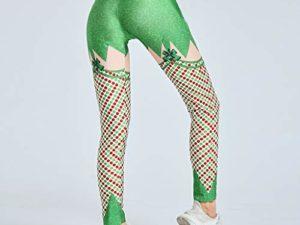 cinnamou Weihnachts Jogginghose Damen Frauen Weihnachts hohe Taillen Gamaschen Eignungs Sport athletische Hosen Laufen laesst Hochelastische eng anliegende Yogahose mit Weihnachtsmotiv 0 4