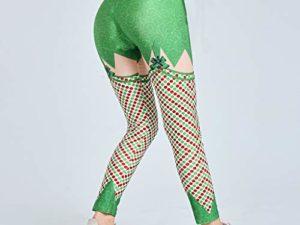 cinnamou Weihnachts Jogginghose Damen Frauen Weihnachts hohe Taillen Gamaschen Eignungs Sport athletische Hosen Laufen laesst Hochelastische eng anliegende Yogahose mit Weihnachtsmotiv 0 5